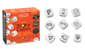 Caja con los nueve dados creativos de Story Cubes