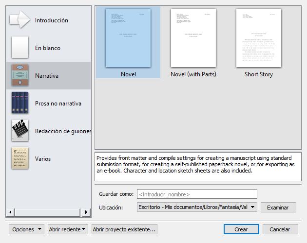 Crear un nuevo proyecto en Scrivener