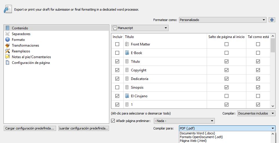 Compilar un documento con este procesador de textos.